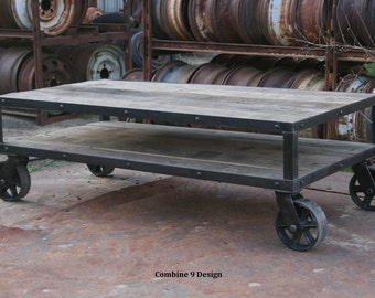 Good Vintage Industrial Coffee Table With Wheels. Rustic Coffee Table With  Casters. Modern Farmhouse.