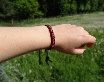 Black and Red Beaded Macrame Bracelet