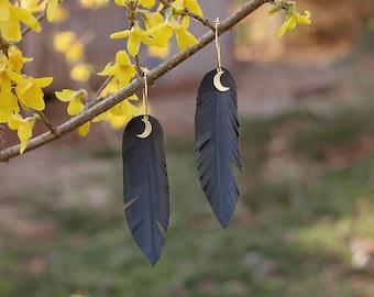 Long Feather Earrings with Gold Moons-Bike Tire Inner Tubes-Vegan Earrings-Bohemian-Statement Earrings-Artsy-Boho Chic-Festival Earrings