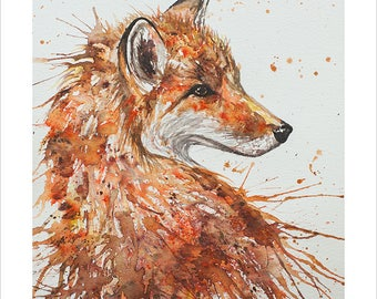 Fox Portrait Wildlife Art by Emma Steel, Daughter of award winning artist John Silver. Personally signed A4 or A3 Print. ESWI155SP