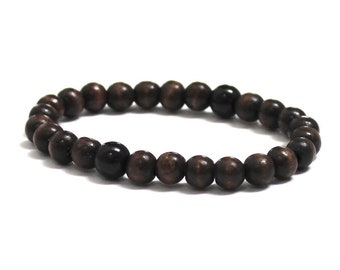 Men Wood Bracelet, Mens Beaded Bracelet, Worry Beads Dragongalss Obsidian Bracelet, Protection Jewelry, Groomsmen, Father's day Gift for Him