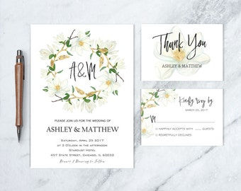 Magnolia Wedding Invitation, Botanical Wedding Invitation, Magnolia Wedding Party, Floral Wedding Invite, Garden Wedding Invitation