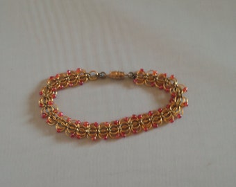 Red and Gold Orchids Bracelet