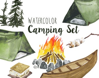 Watercolor Camping clip art Set, Summer outdoors activities, Camping clipart, digital campfire illustration, Tent clipart, Woods Clip Art