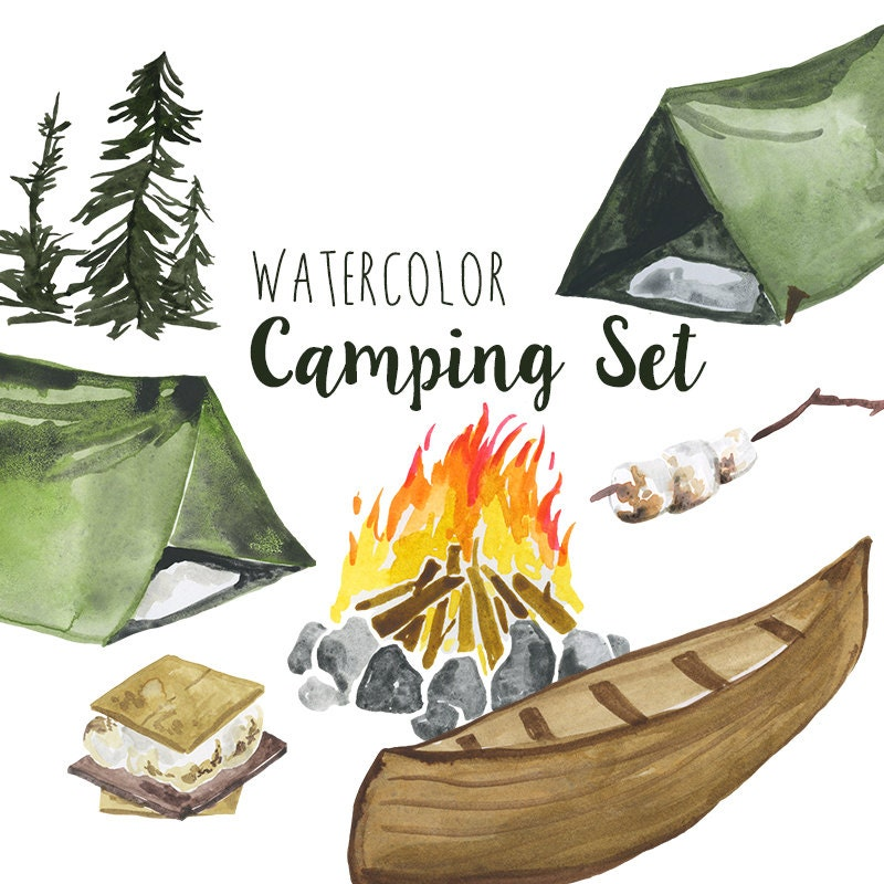 Watercolor Camping Clip Art Set Summer Outdoors Activities