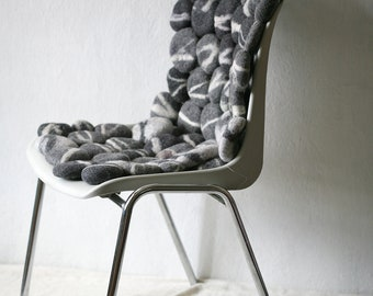 Hand Felted rug with grey striped stones