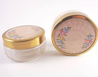 Trinket Jars Pair - 2 vintage powder / cream / cosmetic glass jars with decorative lids