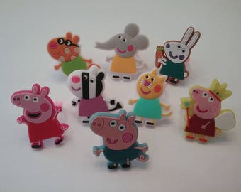 Peppa Pig and Friends Rings Party Favors Cupcake Toppers 8 Pieces