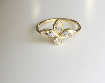 Tiara Ring, Tiara Gold Ring, Marquise Ring, Cz Ring, Trinity ring, Rose Gold Tiara Ring, Cubic Zirconia Gold Ring