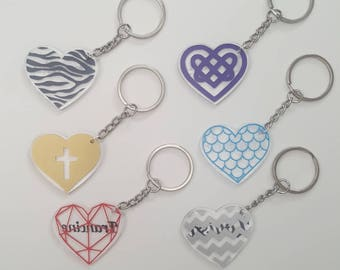 Heart keyring, Personalised keyring, Personalised key chain, heart key chain, Vinyl heart key ring, Acrylic heart