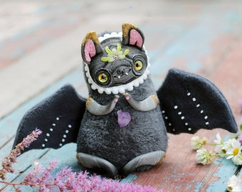 ooak art doll cute bat plush figurine bat toy fantasy creature goth doll bat sculpture animal art doll bat polymer clay