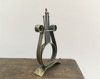 Vintage harp candle holder Harp figurine Metal harp Copper harp Vintage music instrument figurine