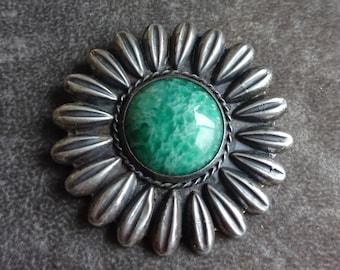 Mexico RAG Signed Brooch, Semi Precious Stone Jade, Sun Pin 1940's, Signed, Collector Piece