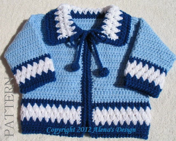 Crochet Pattern 046 - Blue Baby Jacket - 3, 6, 12, 24 months - Baby Jacket Toddler Sweater Baby Boy Baby Girl Winter Sweater Cardigan Coat