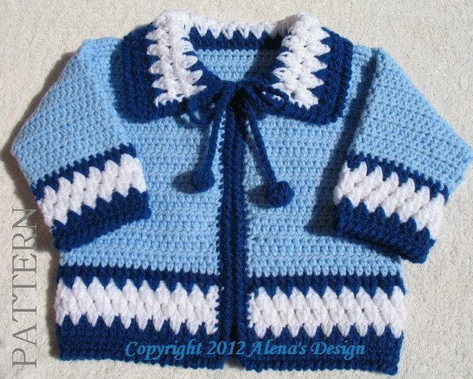 Crochet Pattern 046 Blue Baby Jacket 3 6 12 24 months