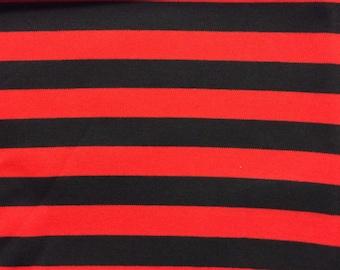 Black and red yard dyed stripevon 100% cotton interlock knit fabric 1 YD
