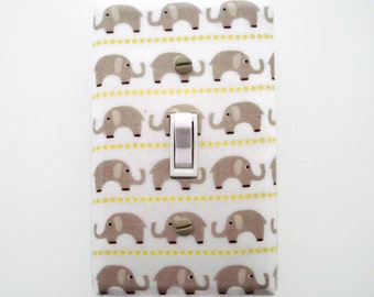 Elephant Light Switch Cover - Taupe Tan Elephant Switch Plate Cover - Taupe Nursery Decor - Jungle Outlet Cover - Girls Elephant Nursery