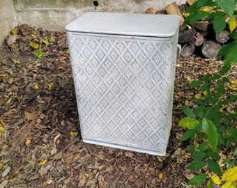 Vintage Fifties White Wicker Hamper Diamond Pattern