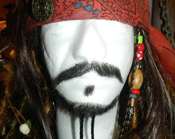 Handmade Jack Sparrow Ventilating Lace Fake Caribbean Pirate Beard With Beads (Made to Order)