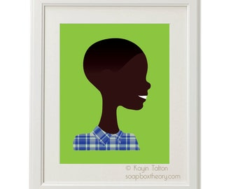 Boy in blue plaid with close haircut - Customized Children's art & decor