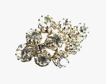 Bright Open Set Cut Crystal Brooch