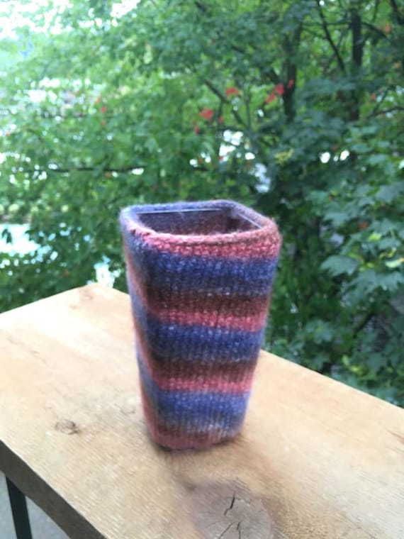 Square Plastic Vase Covered With Mult Color Felted Yarn