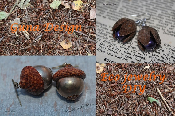 Earring tutorial eco dangle earrings from beech tree nut shells and acorn cupules