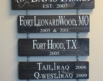 Home is where the Army sends us sign (Marines, Coast Guard, Air Force, Foreign Service)  - military family sign - military station sign - Mi