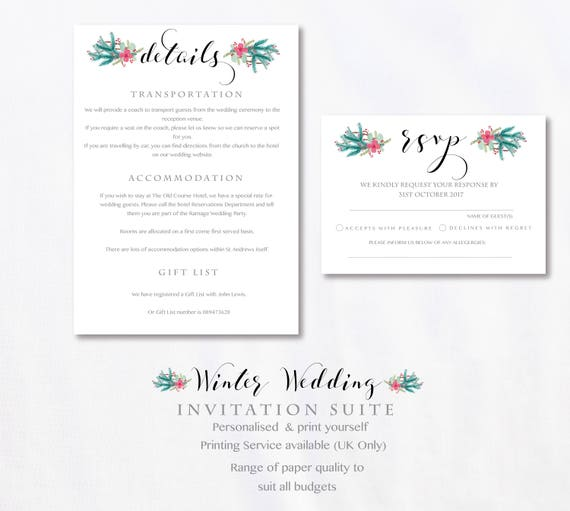 Winter wedding invitations stationery suite printable diy winter wedding invitations stationery suite printable diy winter wedding winter wonderland wedding personalised wedding stationery solutioingenieria Gallery