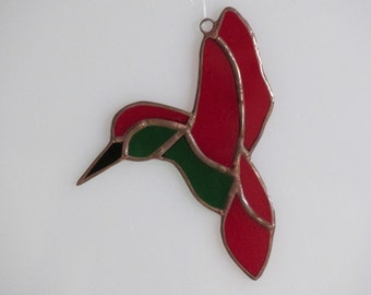 Stained Glass Red and Green Hummingbird Suncatcher (small)