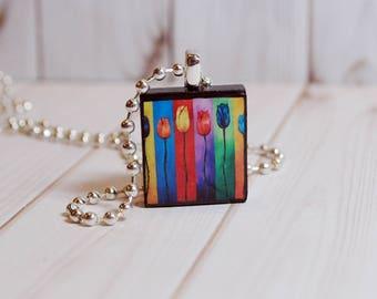 Tulip jewelry, rainbow tulip pendant, tulip Scrabble jewelry, flower jewelry, gift under 10, tulip necklace, rainbow jewelry, gift for her