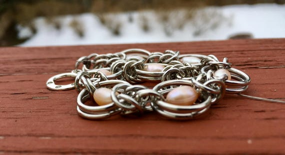 Pink Pearl Chainmaille Bracelet