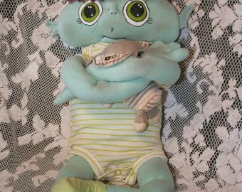 Alien fantasy baby cloth doll 20 inch w/ diaper outfit & toy OOAK custom hand-crafted from upcycled materials Starseed Kid by Mandy Wildman