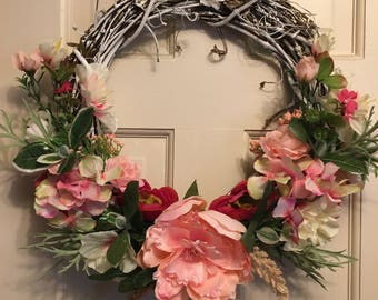 Whitewashed grapevine wreath with pink peonies-about 15 inches.