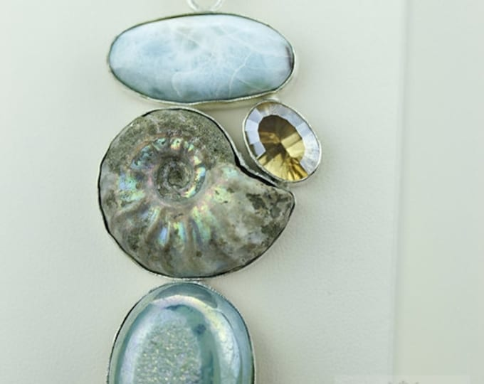 Opalized Ammointe Fossil CARIBBEAN LARIMAR DRUSY 925 S0LID Sterling Silver Pendant + 4mm Snake Chain & Free Worldwide Shipping mp365