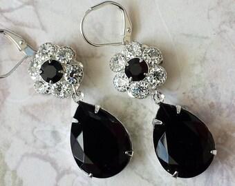 Elegant Crystal Earrings - Black Teardrop Earrings - Crystal Rhinestone Earrings - Swarovski Crystal Earrings
