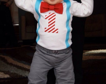 Boys First Birthday Outfit - First Birthday Outfit Boy - Bow Tie Suspender - Carnival Birthday outfit - Blue Red  - 1st Birthday Boy Shirt