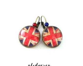 English flag earrings, UK, glass cabochon, union jack, bronze cabochon Stud Earrings, gift idea, alodycrea