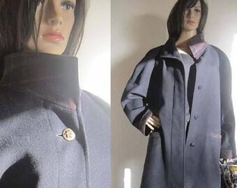 Vintage 80s wool coat wool Plaid jacket L oversize