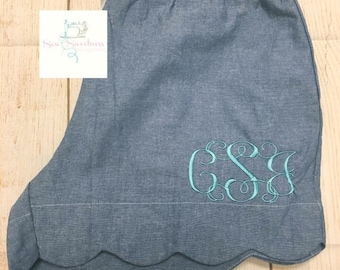 Scalloped Monogrammed PJ Shorts-final inventory!!!