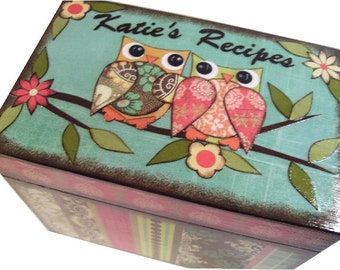 Recipe Box Decoupaged This Colorful Owl Box is Large and Handcrafted Holds 4x6 Recipe Cards  MADE To ORDER