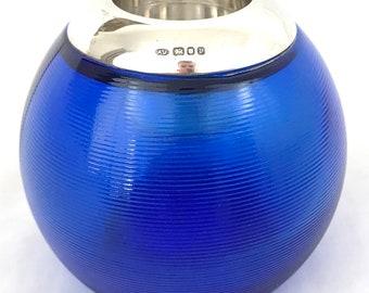 Modern Collectible, Ribbed Blue Glass Match Strikrer, Annabel Jones Match Striker, Sterling Rim, London 1995, Modern Design, Table Vesta