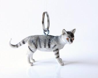 "Key chain ""Grey-white tabby B"""