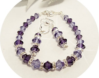 Purple Jewelry Set, Bridesmaid Jewelry, Bridal Jewelry, Bracelet, Earrings, Crystal Jewelry, Mother of the Bride, Mother of the Groom