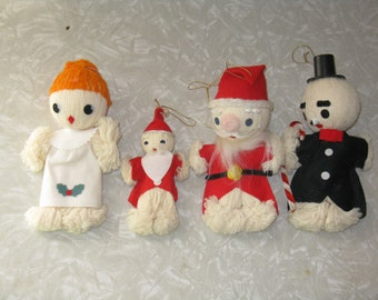 Set of 4 vintage yarn and felt Christmas ornaments decorations made in Japan