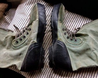 CANVAS MILITARY BOOTS vintage army green, rubber soles, laces, zippers, knee high