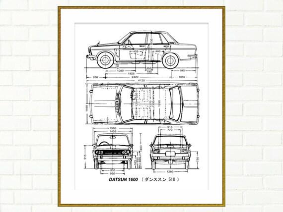 Datsun 1600 4 door blueprint datsun 510 blueprint art malvernweather Choice Image