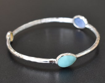 Turquoise ,Blue Agate, MOP Bangle - Sterling Silver Bangle - Gemstone Bangle - Three Stone Bangle - Stackable Bangle - Women Bangle PCB59