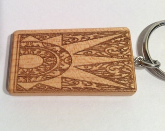 Maple Wood Key Chain with Laser Engraved Sun Design, Key Fob, Wood Key Tag