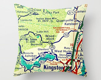 Custom New York Pillow Cover, New York City Pillow, New York Map Pillow, Brooklyn NY Map, Albany Pillow Lake Placid New York Gifts NYC Gift